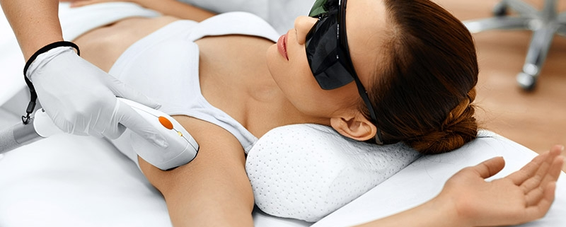 image of someone receiving laser hair removal